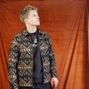 Topman Tapestry Overshirt/ Jacket in Black/Blue